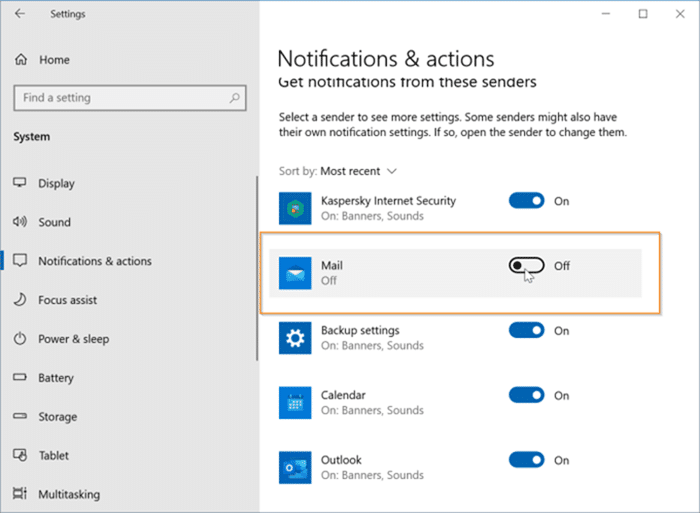 Disable desktop and action center notifications for specific apps in Windows 10 pic2