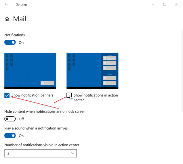 Disable desktop and action center notifications for specific apps in Windows 10 pic3