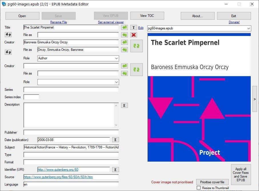 EPUB Metadata Editor - editing an ebook