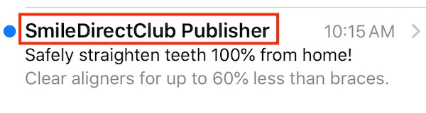 """An email """"from"""" line must clearly relate to the sender's company or brand, such as this example from SmileDirectClub, a teledentistry company."""