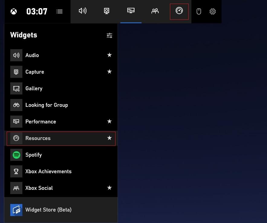 Game Bar widgets menu