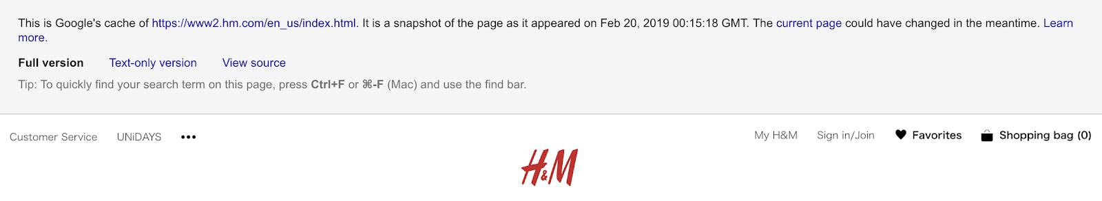 緩存頁面的頂部顯示以下消息: