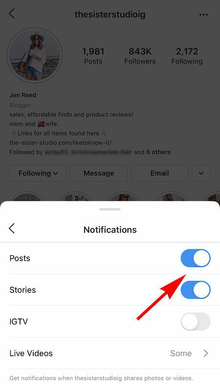 某人的instagram帳戶可在有影響力人士發布信息時獲得通知