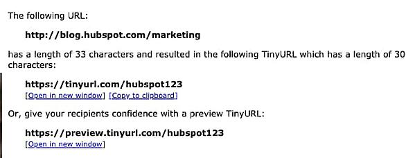 TinyURL results page