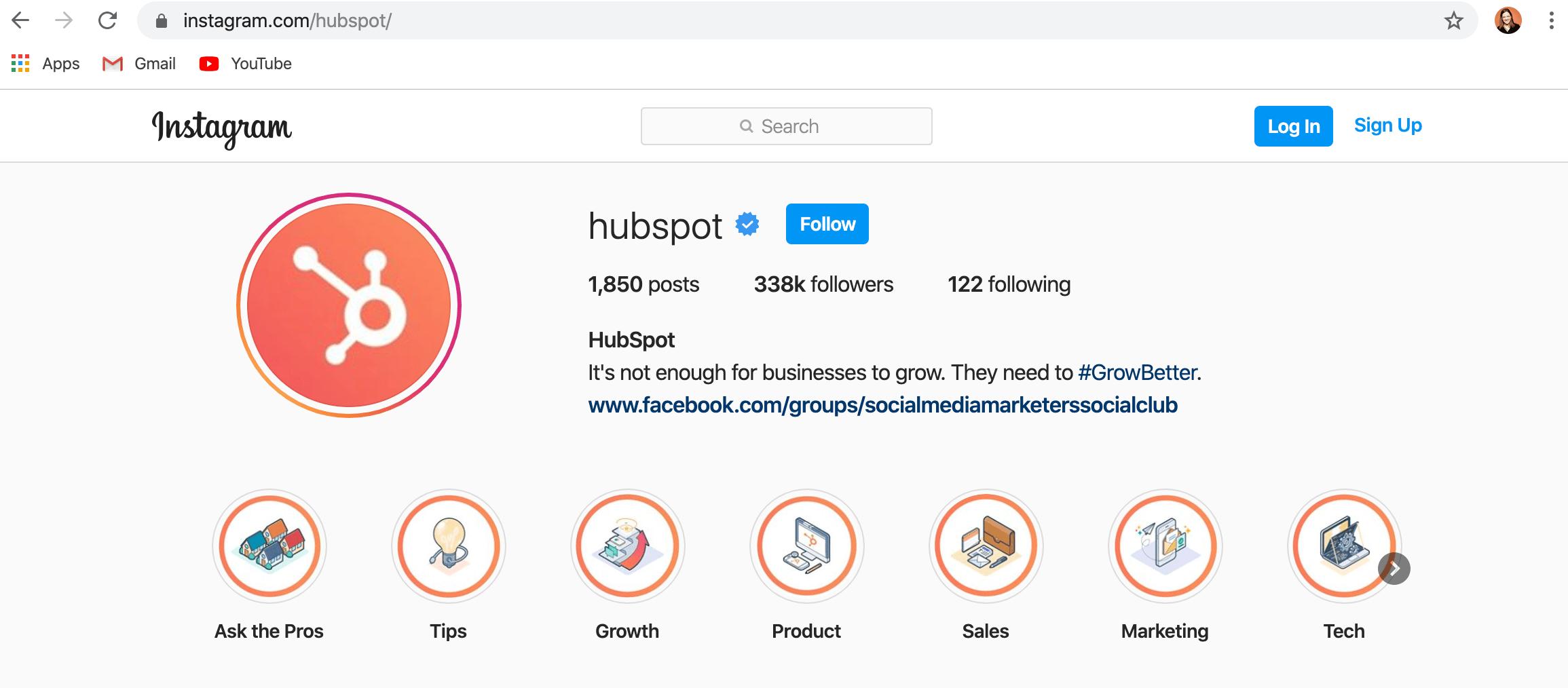husspot instagram帳戶的桌面版本