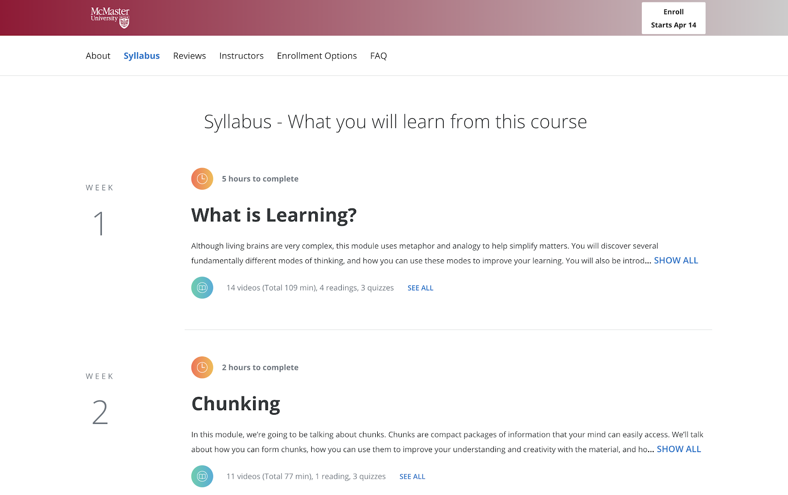 Example syllabus of personal development course