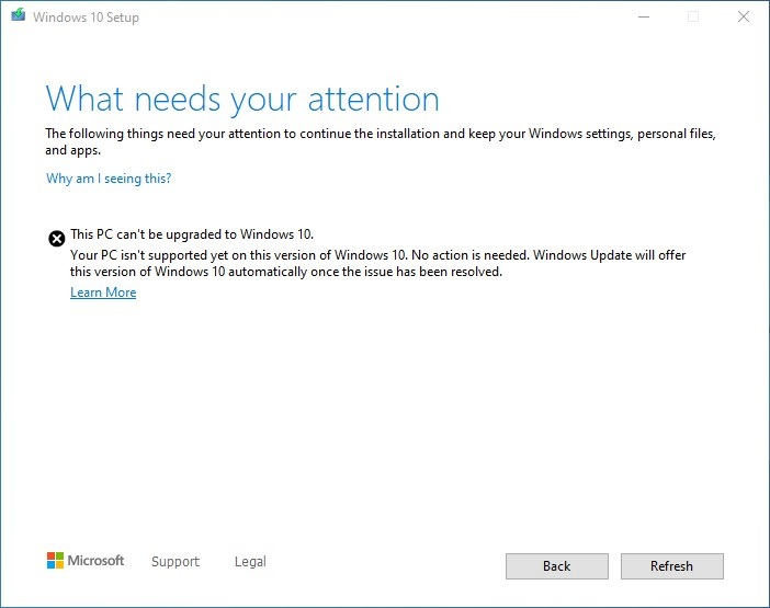 Windows 10 Update Assistant block