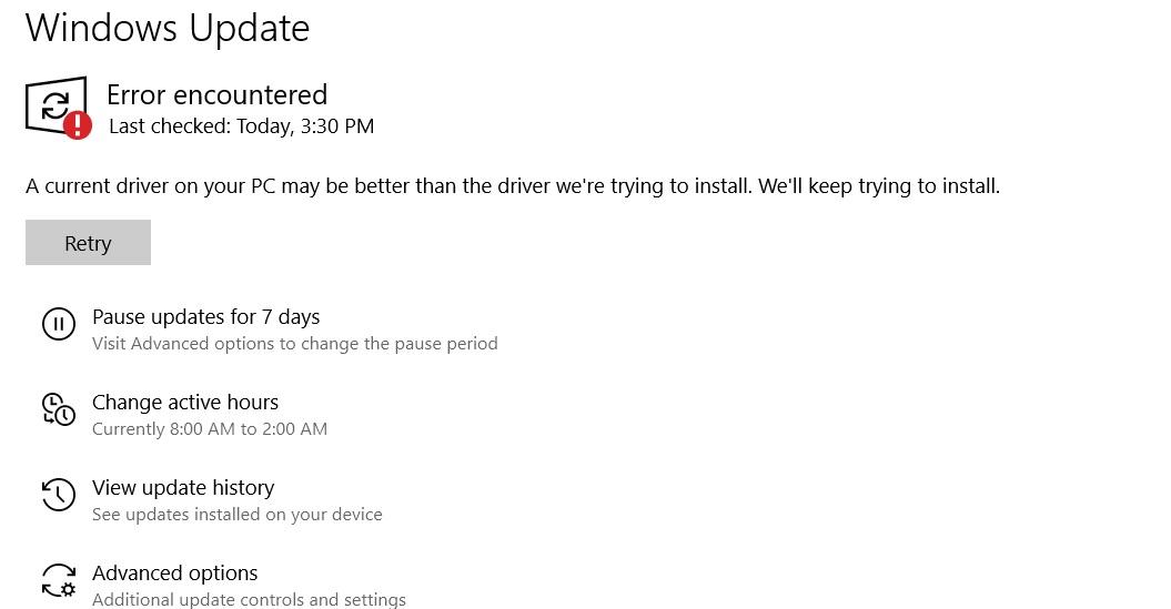 Windows Update driver error