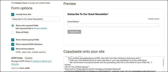 Mailchimp's subscription form.