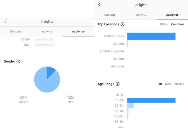 追踪者性別,年齡範圍和熱門位置的instagram見解