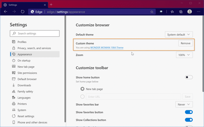 install and uninstall themes in Microsoft Edge in Windows 10 pic10