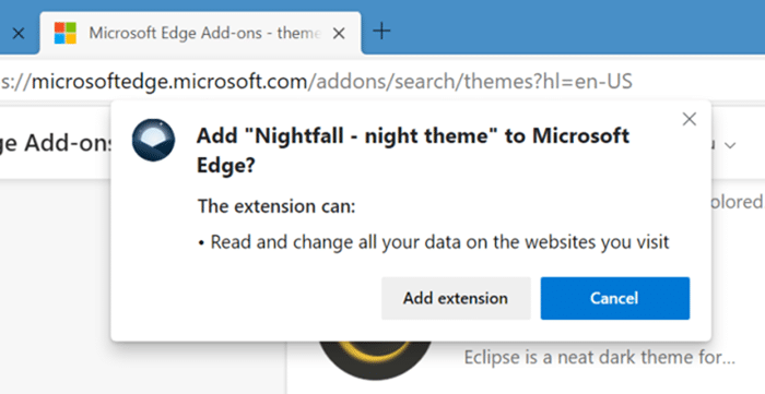 install and uninstall themes in Microsoft Edge in Windows 10 pic7