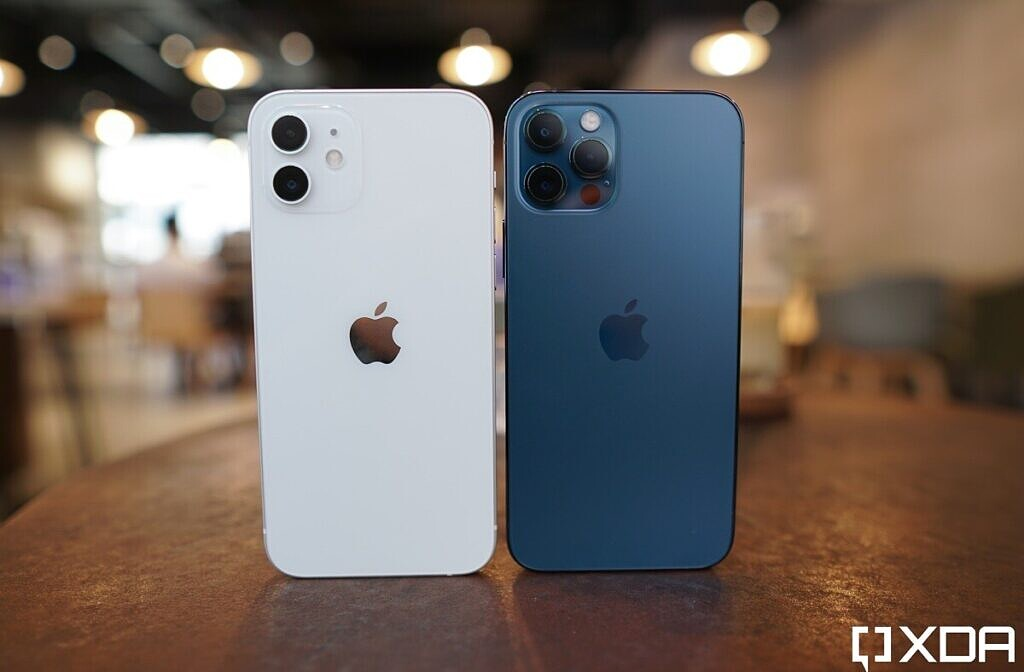 Apple iPhone 12 White and Apple iPhone 12 Pro Blue