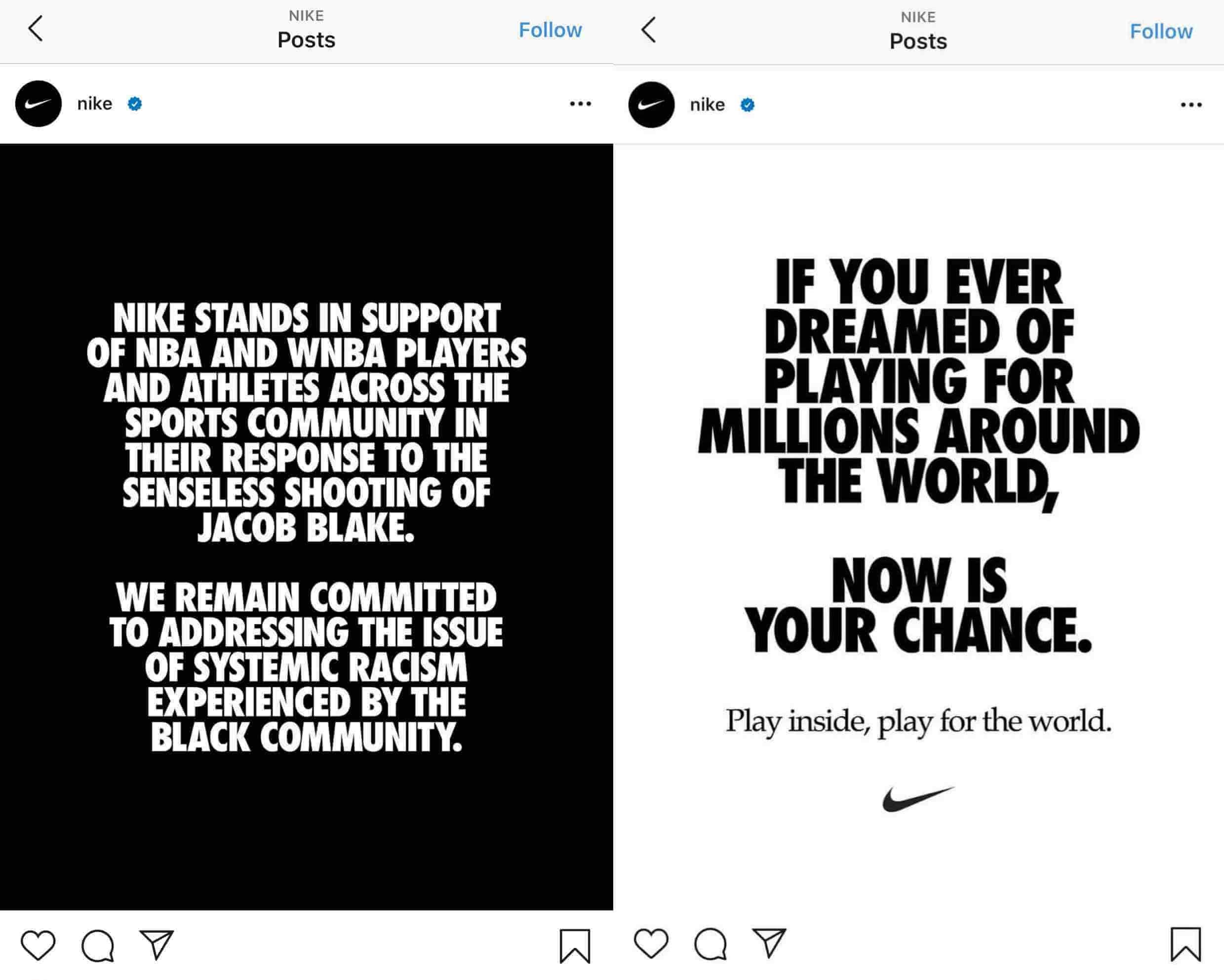 耐克instagram文字品牌一致性