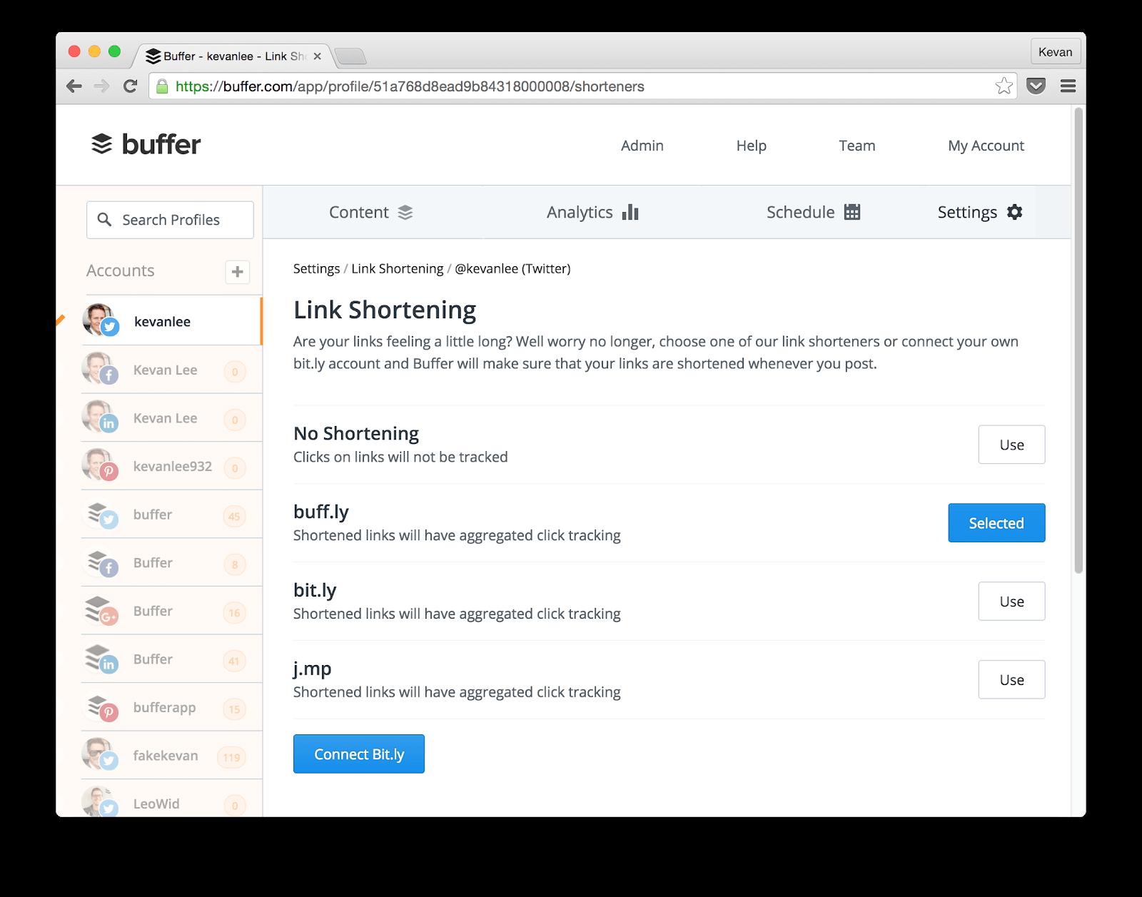 Buffer's link shortening page