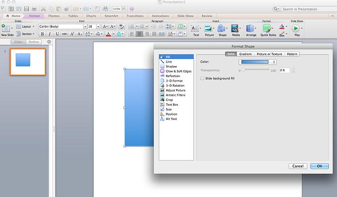 format shape menu in powerpoint