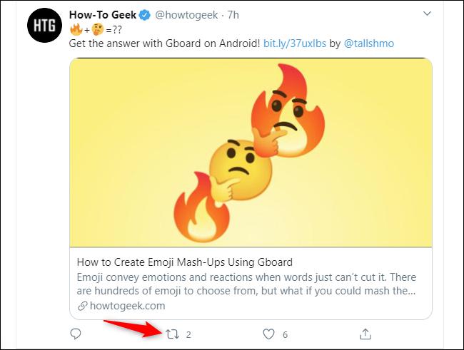 Click the Retweet button below a tweet