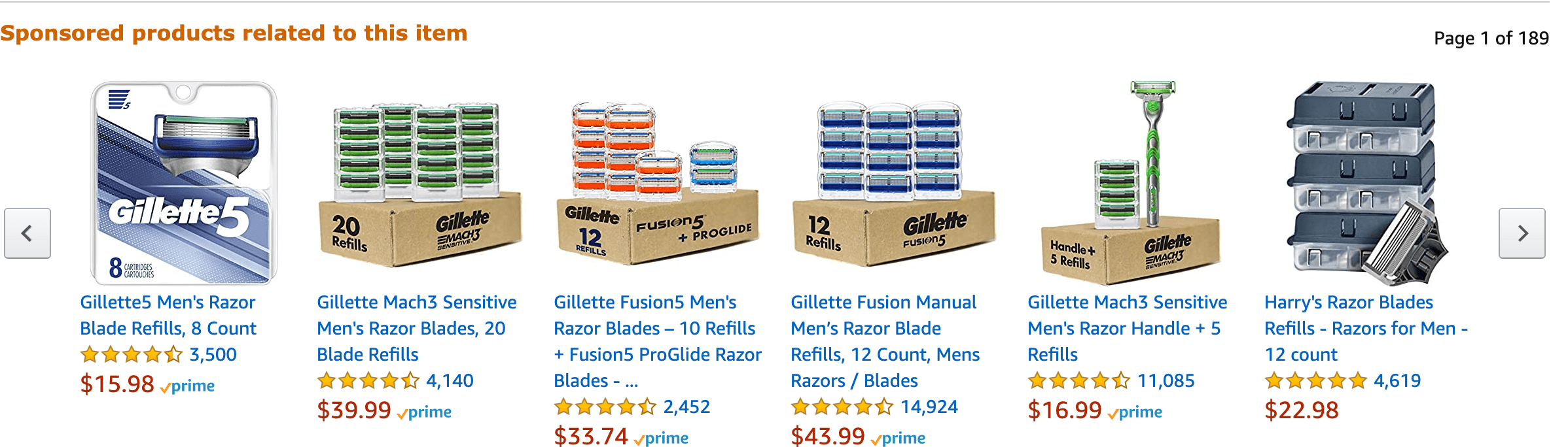 sponsored products related to razors on amazon
