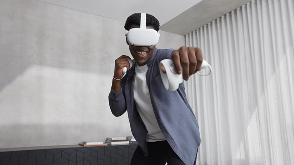 A man playing a game on an Oculus Quest 2.