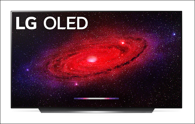 An LG CX OLED 2020 Flagship TV showing a scene from space.