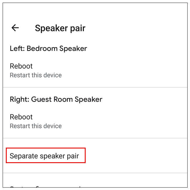 Select Separate Speaker Pair