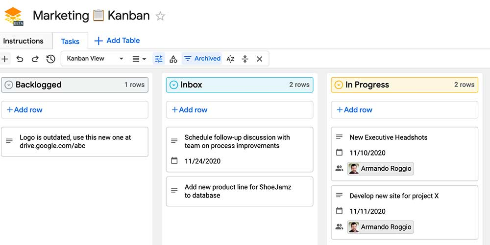 Sample Google Tables Kanban board template