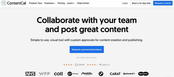 content cal social media management tool for small businesses