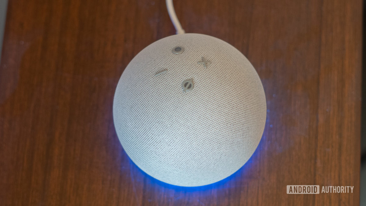 Echo Dot 2020 fourth generation buttons top down