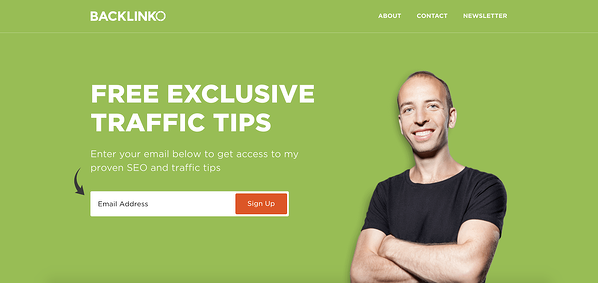 Backlinko squeeze page for email subscription