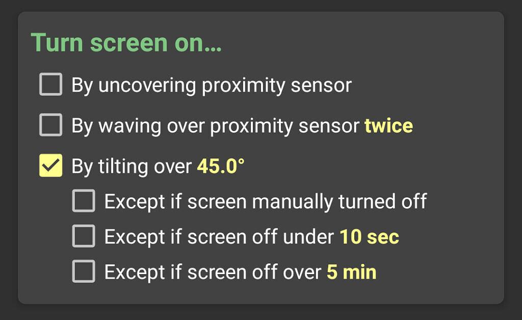 KinScreen screenshot showing new Turn screen on settings
