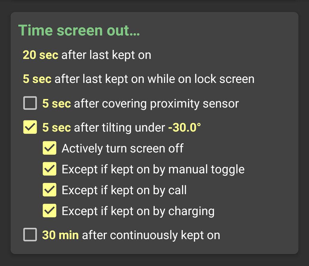 KinScreen screenshot showing time out by tilt setting