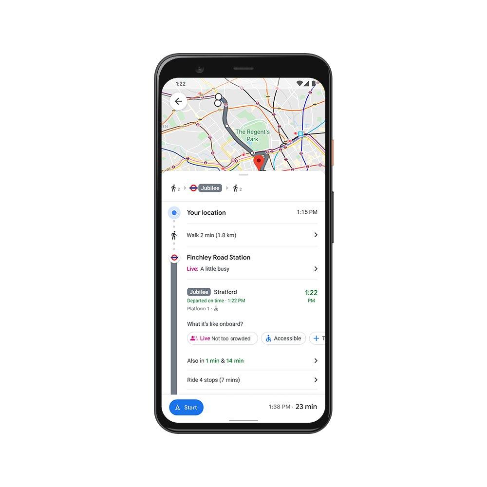 Google Maps Travel Crowdedness