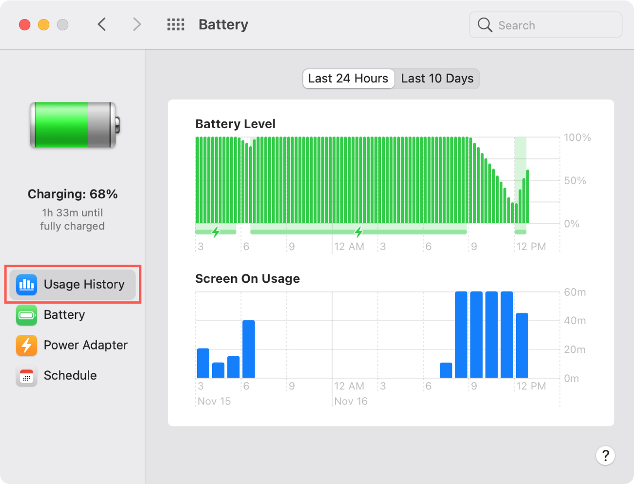 Mac Battery Usage History in System Preferences