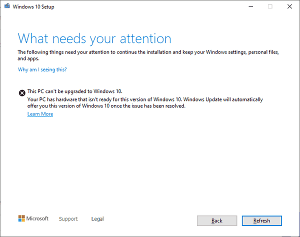 NVMe Upgrade Block Windows 10 Versoin 2004 20H2