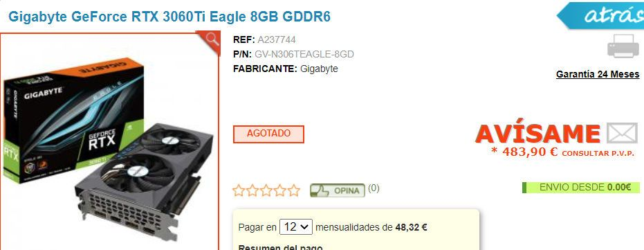 The Gigabyte RTX 3060Ti has been listed for a price of €483 at a leading Spanish retailer.