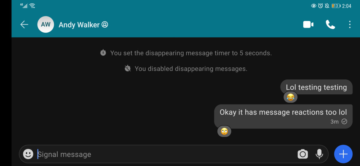 Signal message reactions chat