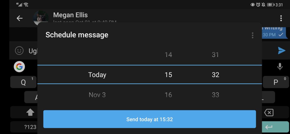 Telegram schedule message