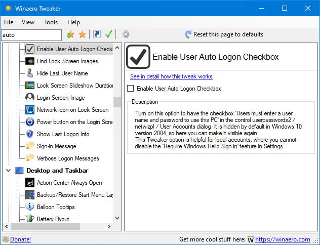Tweaker Enable Auto Logon Checkbox
