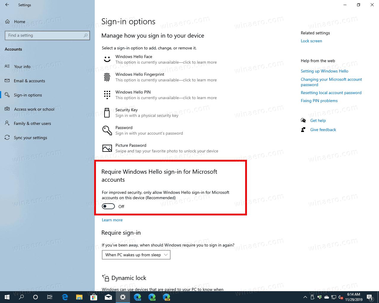 Windows 10 Disable Windows Hello