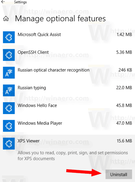 Windows 10 Manage Optional Features Remove Feature