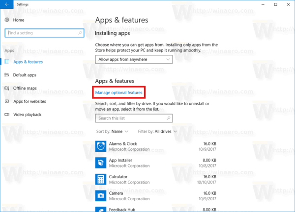 Apps And Features Manage Optional Link Windows 10