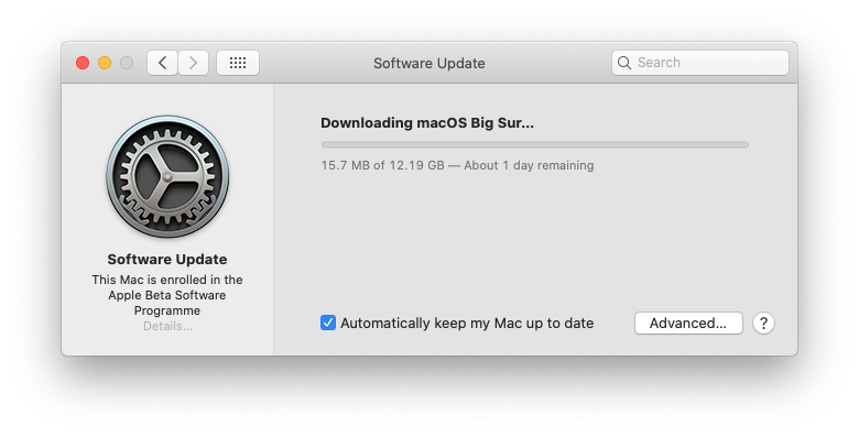 How long will Big Sur download take
