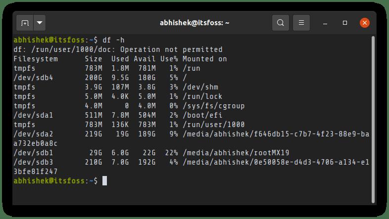 Df Command Ubuntu
