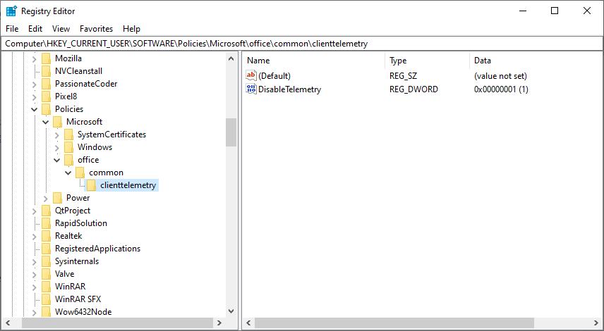 禁用遙測Office 365