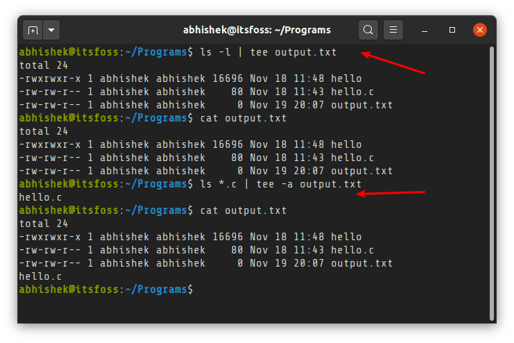 Display And Save Linux Command Output