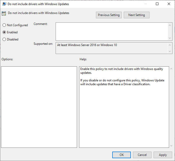 do not include drivers with Windows Updates
