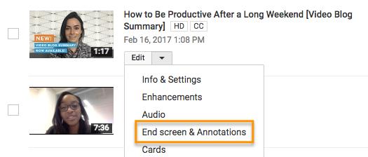 Appel à l'action sur l'écran de fin de YouTube.