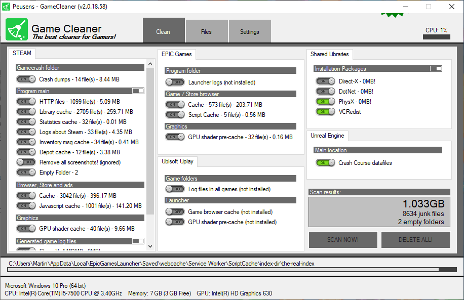 game cleaner clean game files